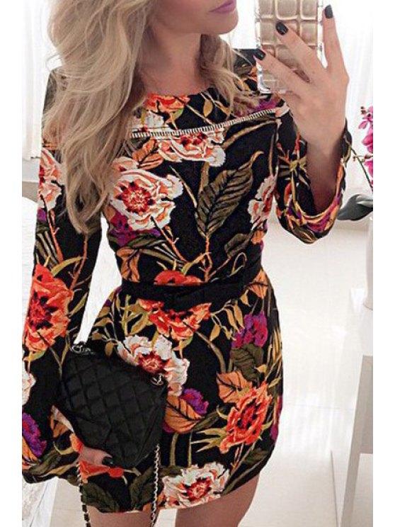 unique Long Sleeve Floral Print Bodycon Dress - BLACK S