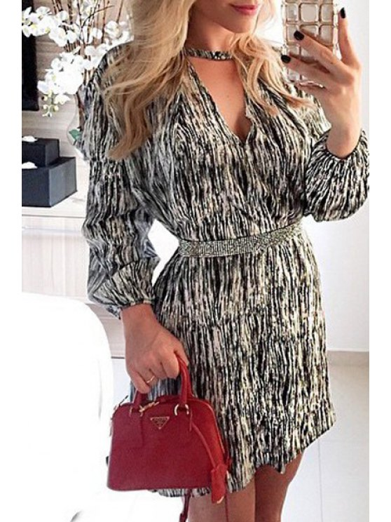 lady Long Sleeve Printed Tunic Dress - WHITE AND BLACK S