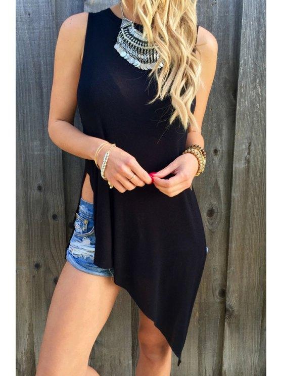 lady Black Round Neck Sleeveless Slit T-Shirt - BLACK S