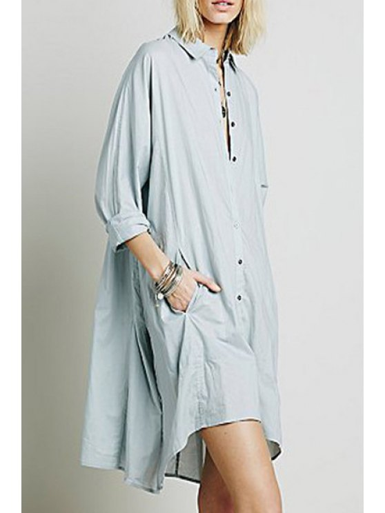 outfits Ruffle Single-Breasted Long Sleeve Dress - LIGHT BLUE ONE SIZE(FIT SIZE XS TO M)