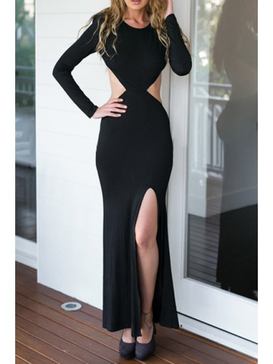 outfit Backless Solid Color Long Sleeve Dress - BLACK S