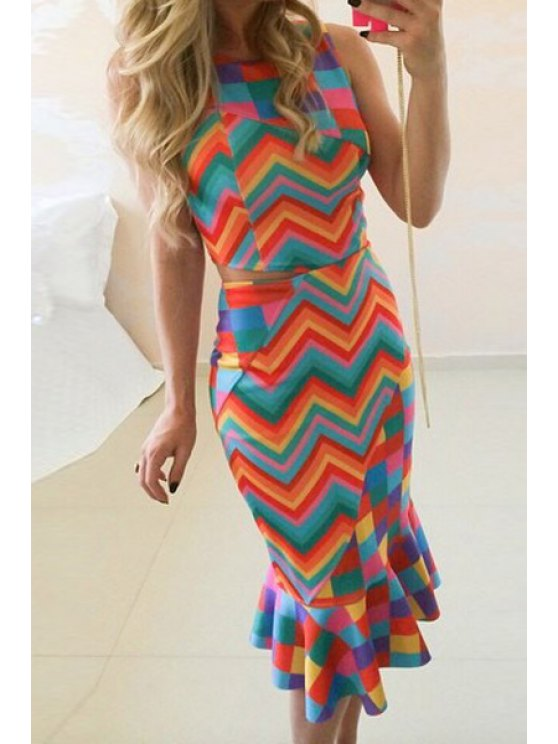 new Striped Crop Top + High-Waisted Fishtail Skirt Twinset - COLORMIX S
