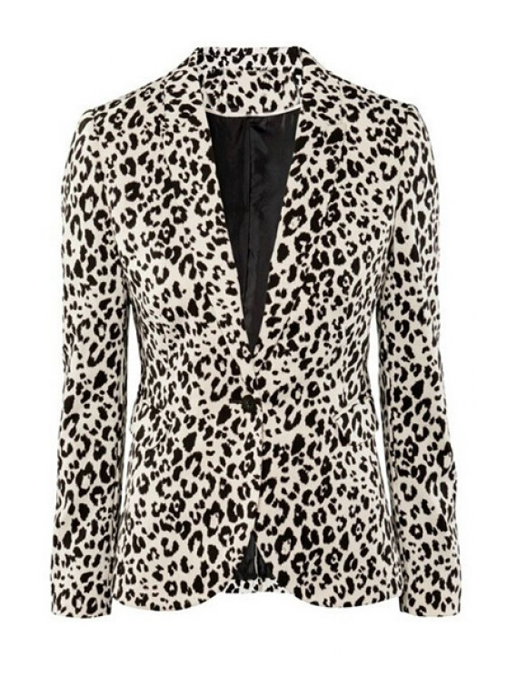 outfit Leopard Pattern Lapel Blazer - AS THE PICTURE M