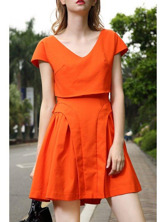 fashion Orange V Neck Short Sleeve A Line Dress - JACINTH S
