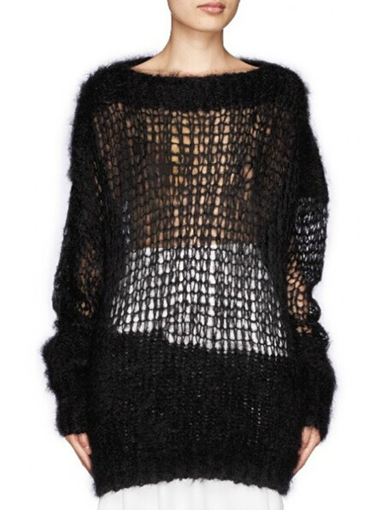 unique Solid Color Mesh Long Sleeve Sweater - BLACK ONE SIZE(FIT SIZE XS TO M)