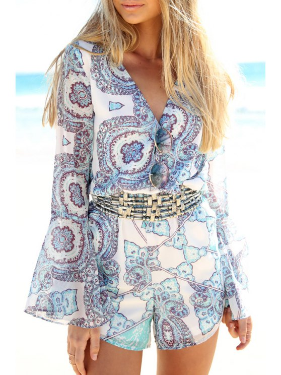 buy Bell Sleeve Printed Chiffon Playsuit - WHITE S