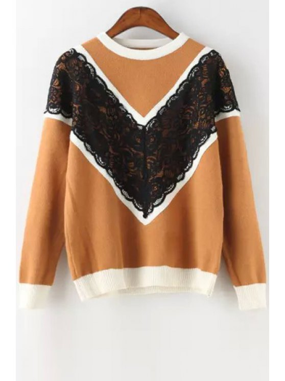 buy Black Lace Splicing Long Sleeve Sweater - KHAKI ONE SIZE(FIT SIZE XS TO M)