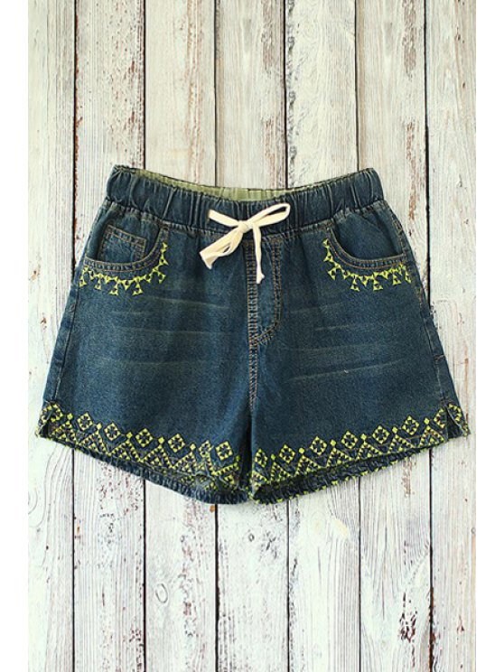 online Straight Leg Embroidered Denim Shorts - DEEP BLUE ONE SIZE(FIT SIZE XS TO M)