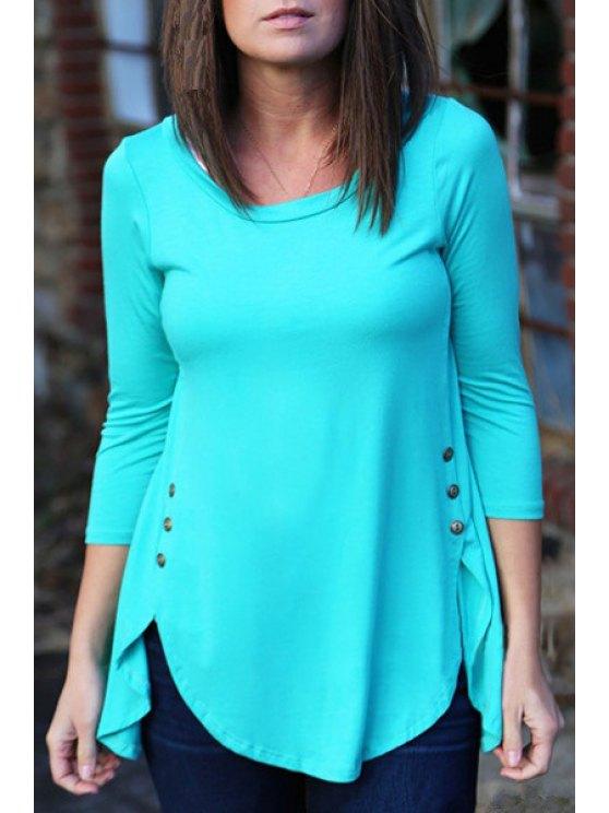 online Irregular Hem Long Sleeve T-Shirt - BLUE S