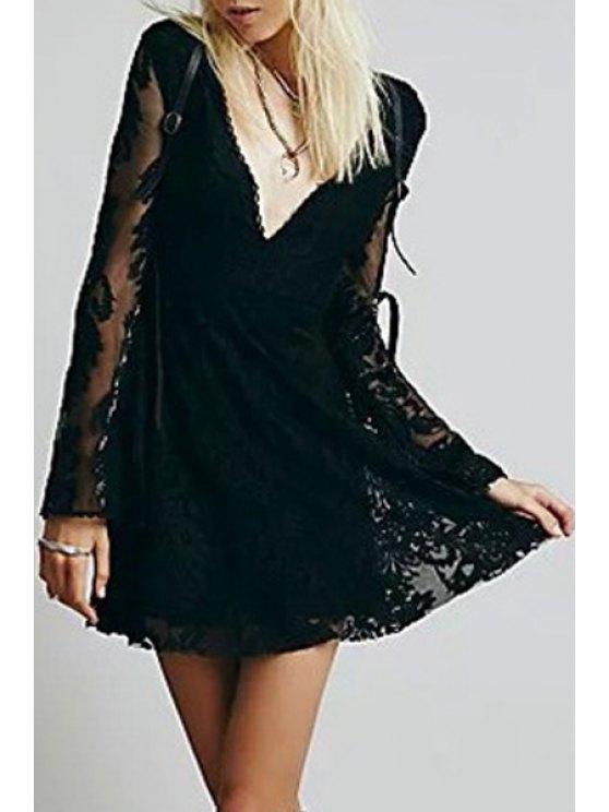 shops Deep V Neck Embroidered See-Through Dress - BLACK S