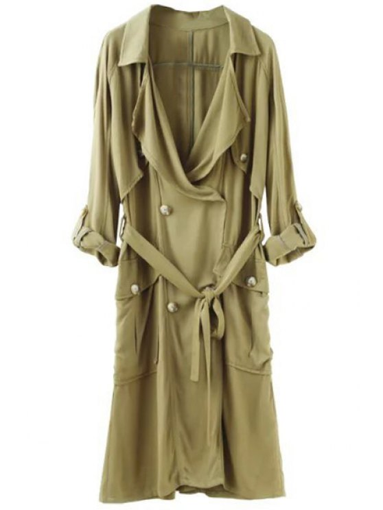 outfit Double-Breasted Solid Color Long Sleeve Trench Coat - ARMY GREEN S