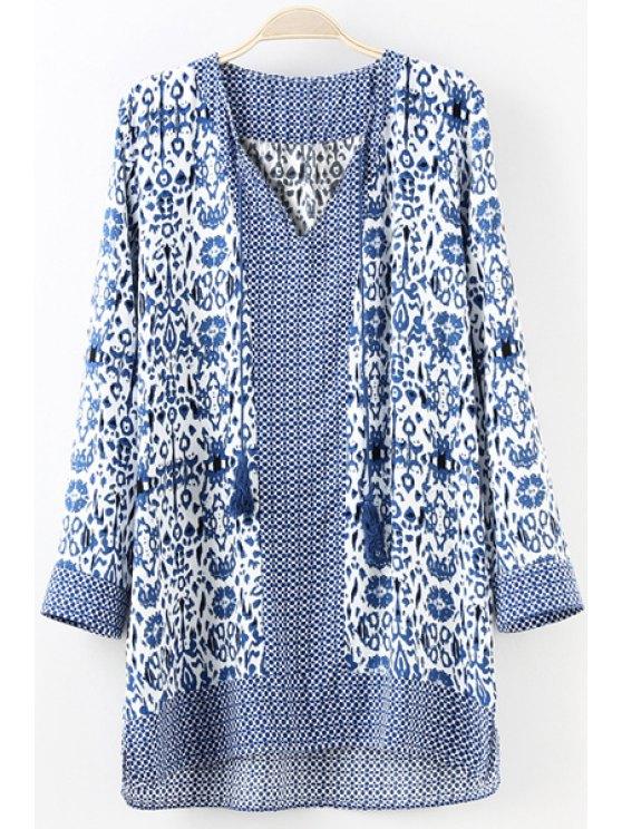 fashion Blue Floral Print Tie-Up Long Sleeve Dress - ROYAL BLUE S