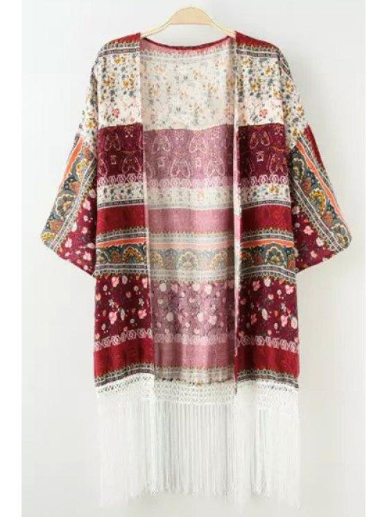 online Color Block Tiny Floral Print Half Sleeve Kimono - COLORMIX S