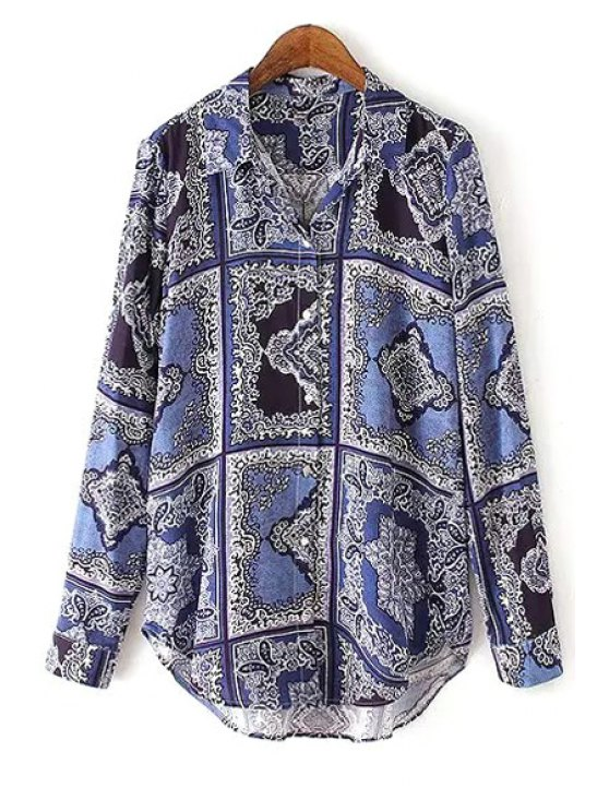 latest Color Block Printed Long Sleeve Shirt - BLUE AND BLACK S