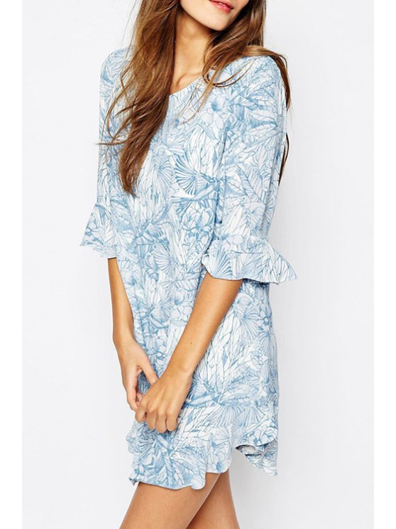 womens Refreshing Style Scoop Collar Butterfly Sleeve Floral Print Flounced Women's Dress - AS THE PICTURE XS