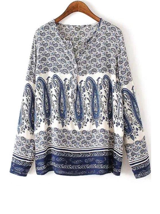 affordable V Neck Paisley Print Long Sleeve Shirt - COLORMIX S