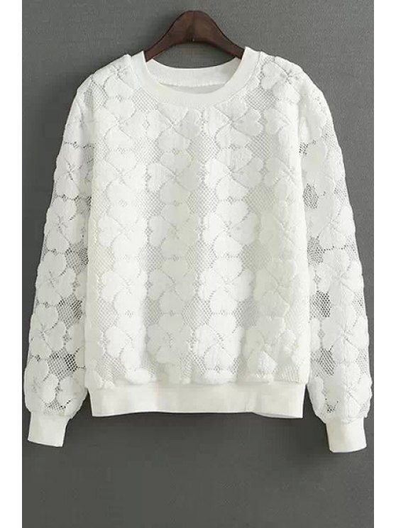 fashion Clover Pattern Mesh Long Sleeve Sweatshirt - WHITE M