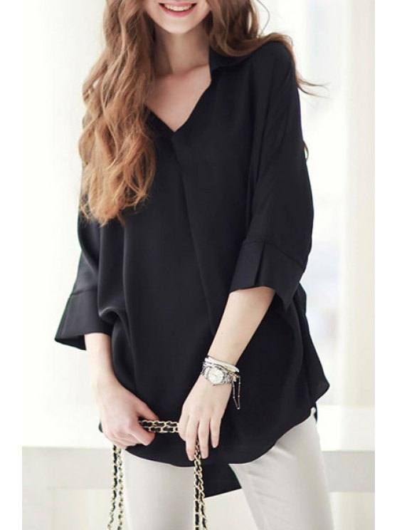 new Long Sleeve Loose-Fitting Chiffon Shirt - BLACK S