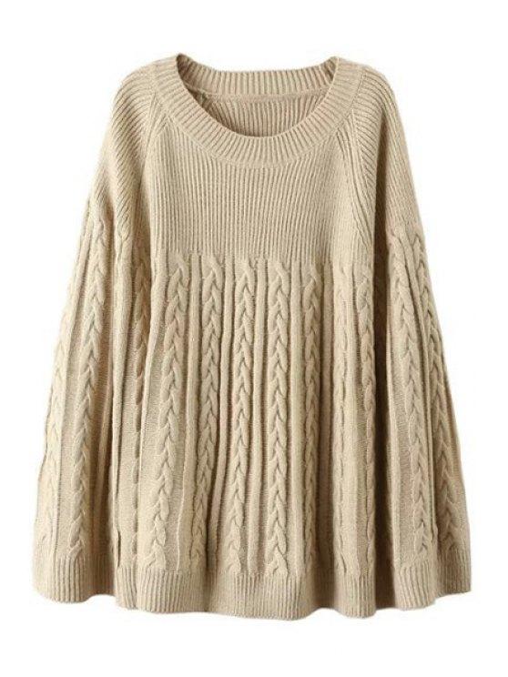 buy Plait Pattern Jewel Neck Long Sleeve Sweater - KHAKI ONE SIZE(FIT SIZE XS TO M)