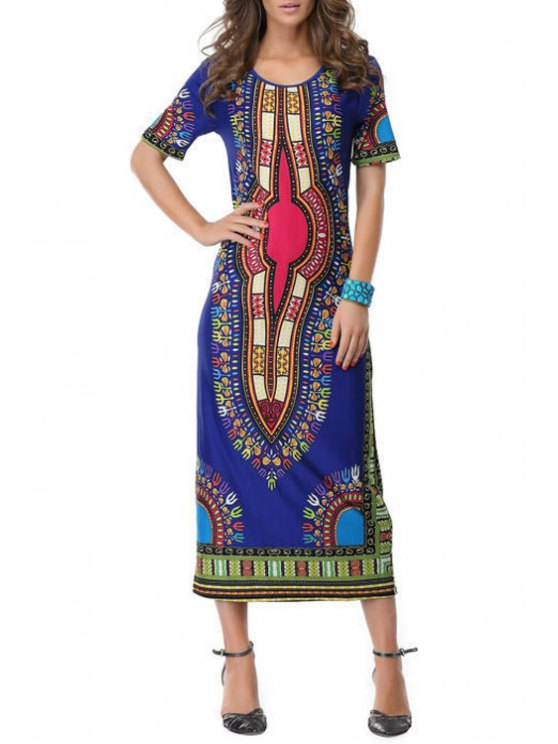shop Vintage Print Short Sleeves Maxi Dress - BLUE ONE SIZE(FIT SIZE XS TO M)