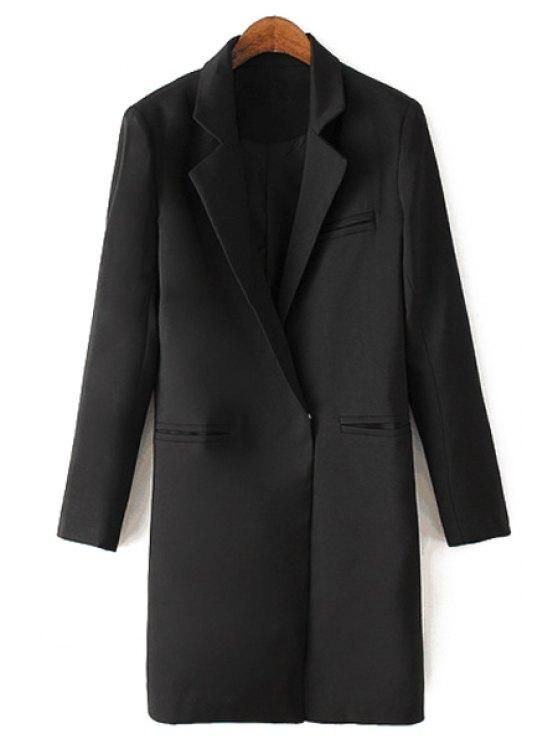 sale Lapel Solid Color Straight Long Sleeve Blazer - BLACK S