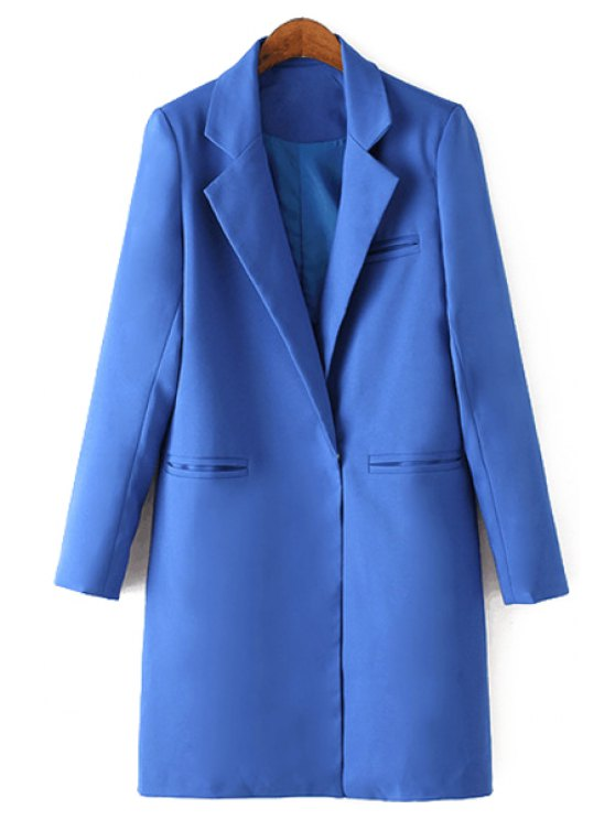 hot Lapel Solid Color Straight Long Sleeve Blazer - SAPPHIRE BLUE XL