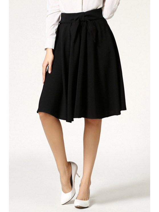fancy High-Waisted Ruffled Midi Skirt - BLACK ONE SIZE(FIT SIZE XS TO M)