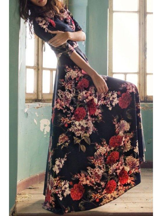 trendy Colorful Floral Print Maxi Dress - COLORMIX S