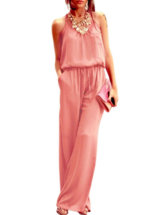 outfits Halter Neck Tie-Up Backless Sleeveless Jumpsuit - PINK S