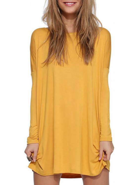 trendy Solid Color Scoop Neck Long Sleeve Dress - YELLOW S