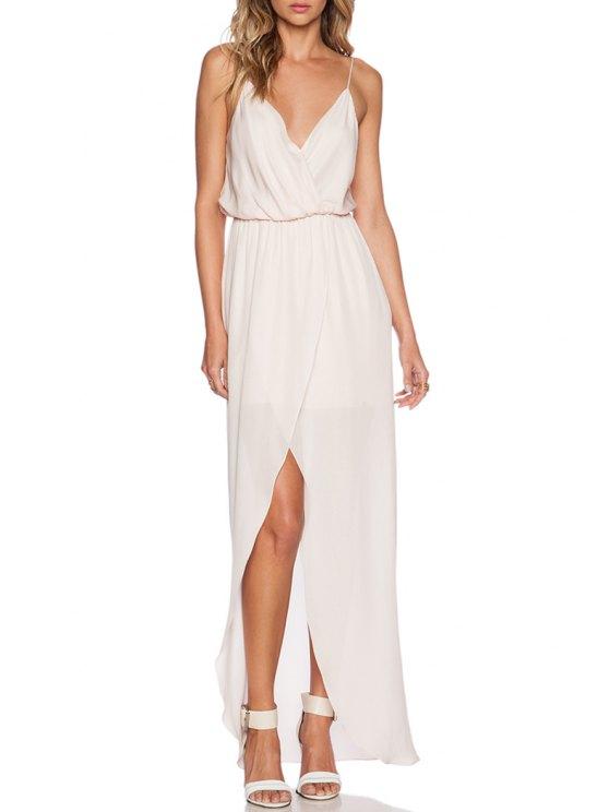 lady Spaghetti Strap Slit Chiffon Maxi Dress - WHITE S