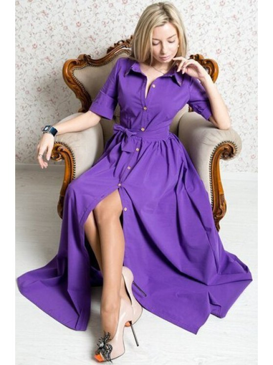 outfit Single-Breasted Solid Color Half Sleeve Dress - PURPLE L