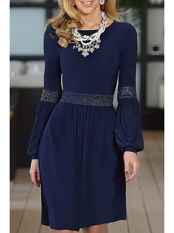 fashion Jewel Neck Lace Splicing Long Sleeve Dress - PURPLISH BLUE S