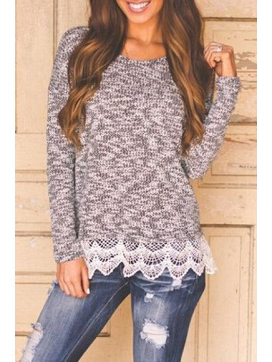ladies Scoop Neck Lace Splicing Long Sleeve Sweater - GRAY S