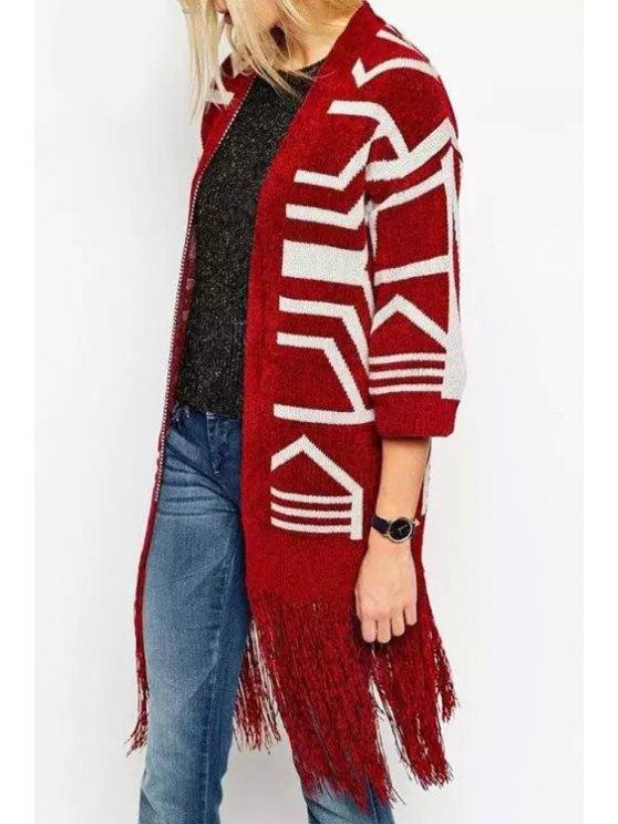 trendy Geometric Pattern 3/4 Sleeve Knit Kimono - RED S