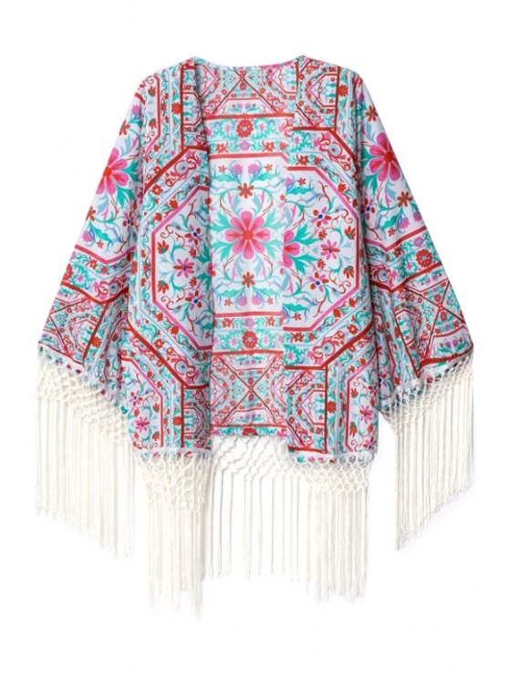 hot Flowers Print Long Sleeves Kimono - COLORMIX S