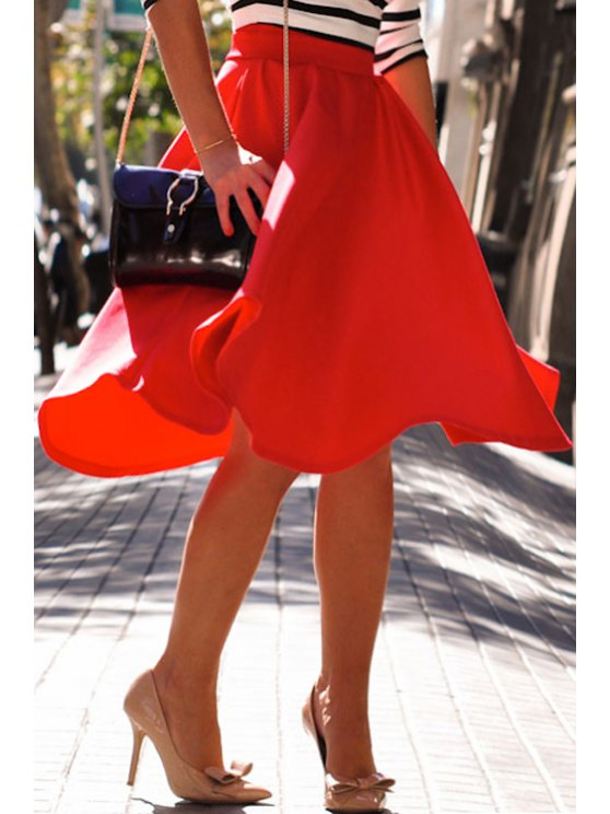 hot Red High Waisted A Line Skirt - RED S