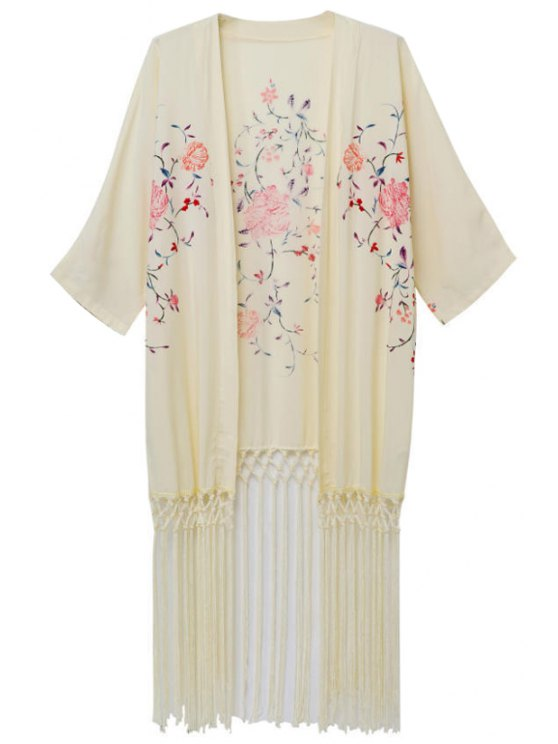chic Flowers Print Half Sleeves Kimono - AS THE PICTURE S