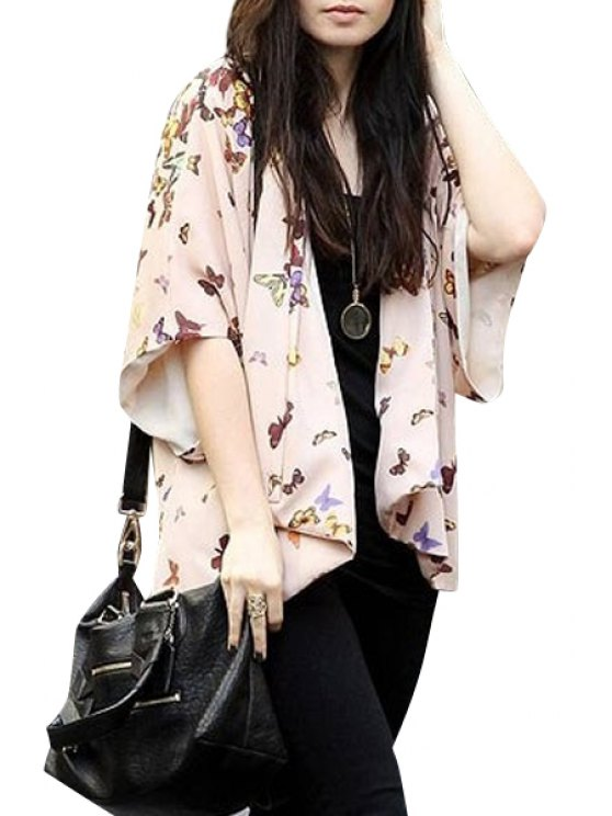 ladies Colorful Butterfly Print Half Sleeve Blouse - PINK S