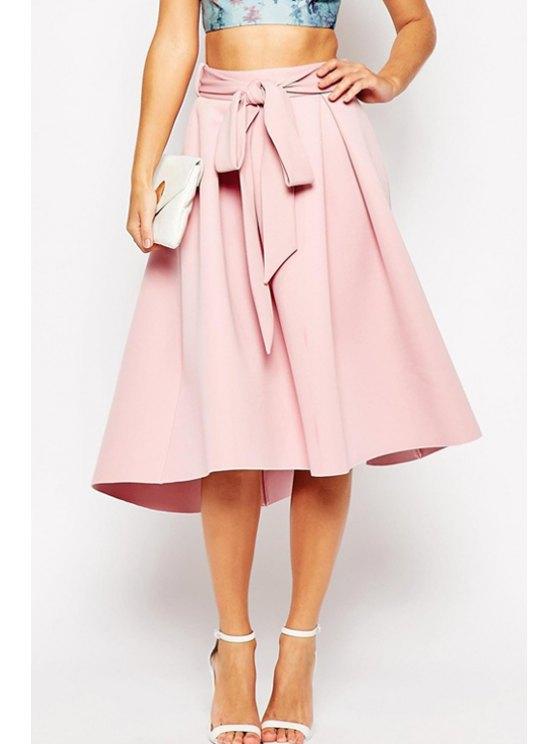 womens Ruffled Self-Tie Pink Midi Skirt - PINK S