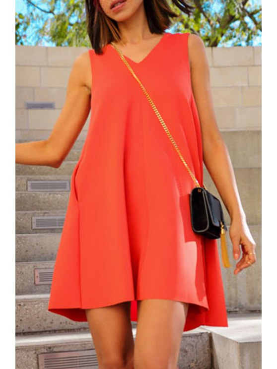 latest Solid Color Sleeveless Flare Dress - JACINTH S