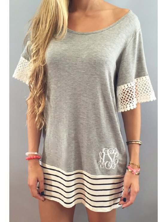 ladies White Lace Splicing Short Sleeve T-Shirt - GRAY S