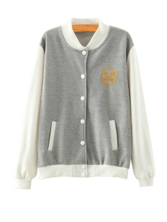 chic Color Block Stand Neck Baseball Jacket - LIGHT GRAY L
