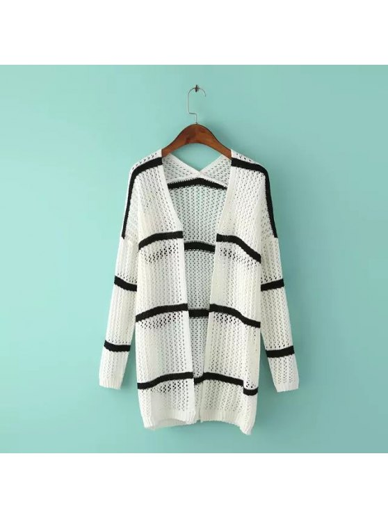 trendy Open Front Long Hollow Cardigan - WHITE ONE SIZE(FIT SIZE XS TO M)