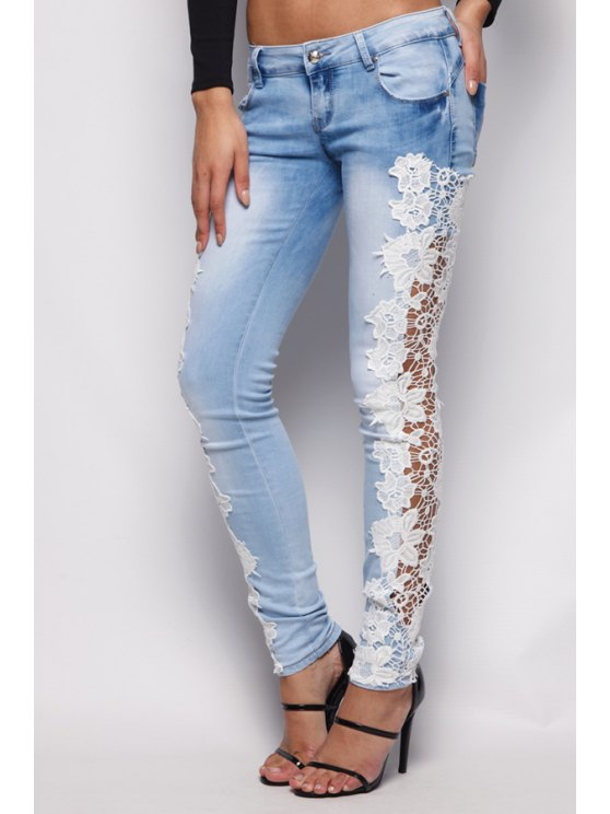 buy Floral Lace Splicing Bleach Wash Jeans - LIGHT BLUE S