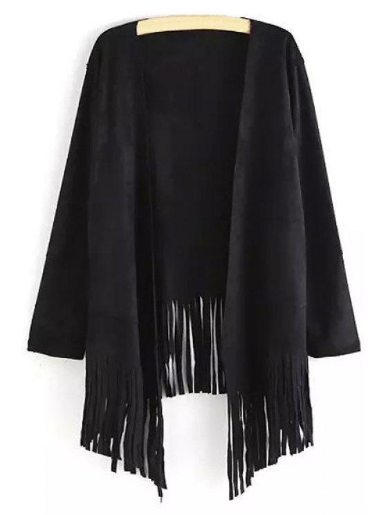 women's Open Front Tassels Spliced Sueded Coat - BLACK M