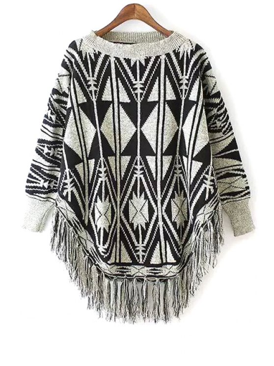women Geometric Pattern Long Sleeves Pullover Sweater - BLACK AND GREY ONE SIZE(FIT SIZE XS TO M)