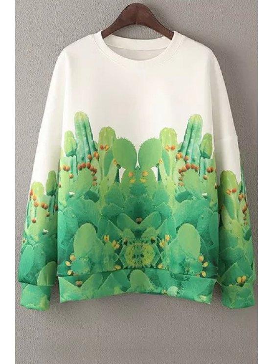 online Cactus Print Loose Sweatshirt - GREEN S