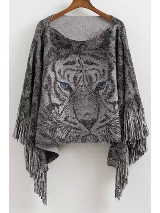 women Tiger Pattern Scoop Neck Pullover Sweater - GRAY ONE SIZE(FIT SIZE XS TO M)