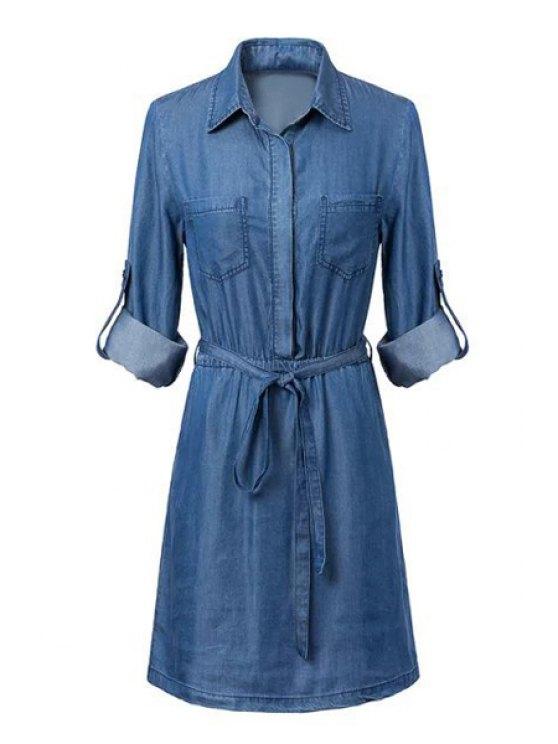 latest Blue Denim Shirt Neck Long Sleeve Dress - BLUE S